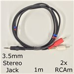 1m 3.5mm Stereo Jack to 2x RCA male (phono) Cable